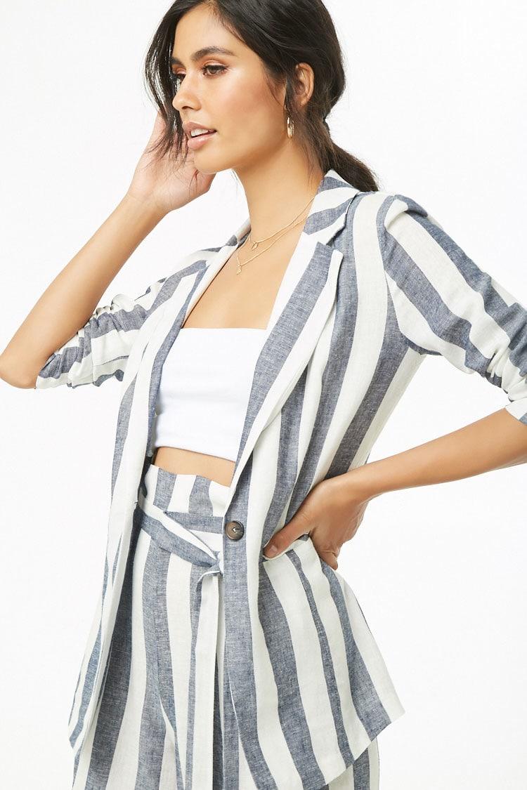F21 Striped Linen-Blend Blazer