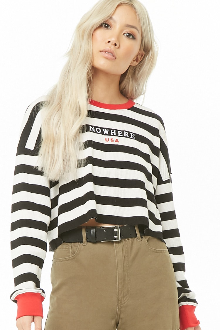 F21 Striped Nowhere USA Graphic Top