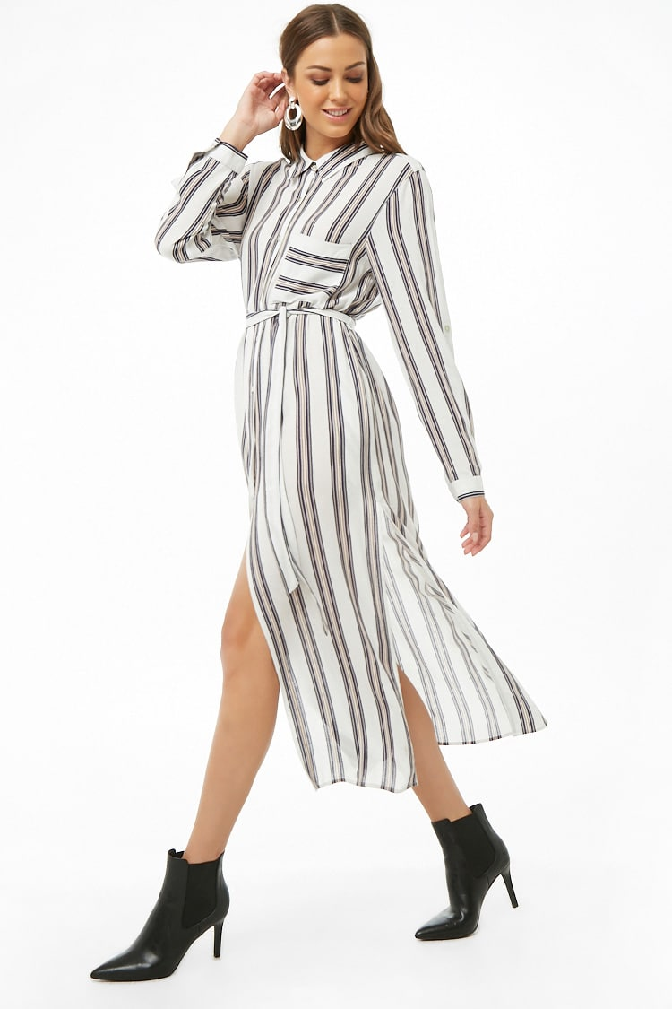 F21 Striped Shirt Tunic