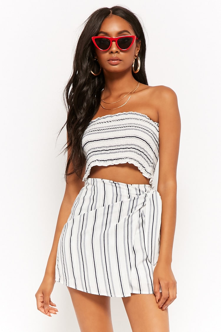 F21 Striped Tube Top & Mini Skirt Set