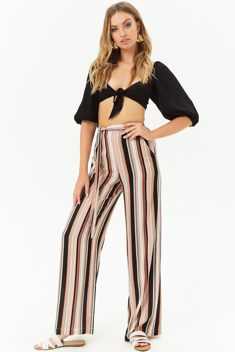 LOVE21 Striped Wide-Leg Pants