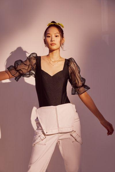 Tach Clothing Organza Puff Sleeve Bodysuit