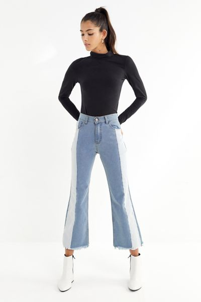 Tach Clothing Two-Tone Cropped Flare Jean