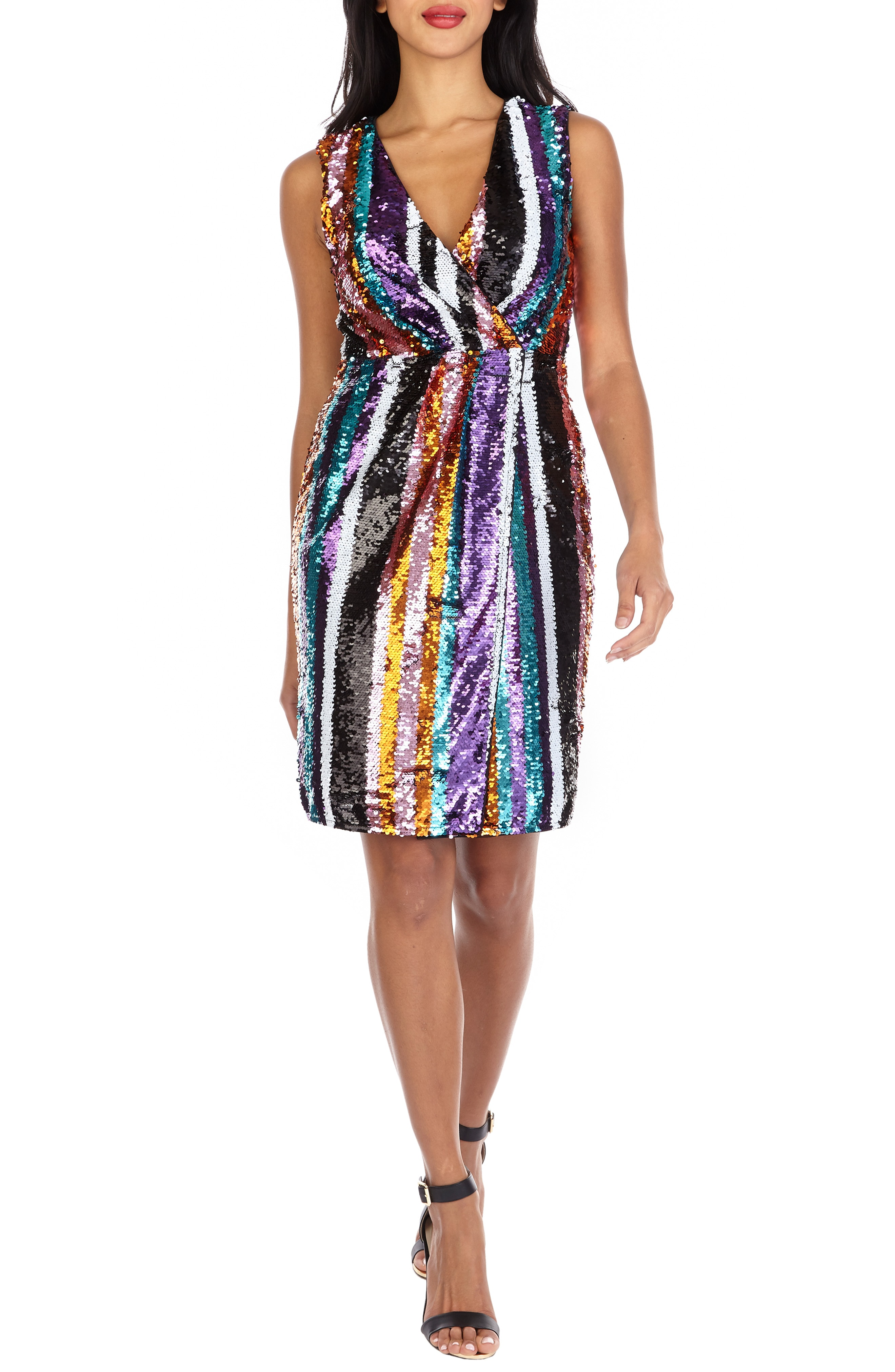 TFNC Sarah Rainbow Sequin Stripe Cocktail Sheath