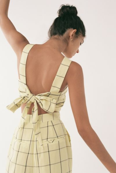The East Order Lara Gingham Tie-Back Cropped Top