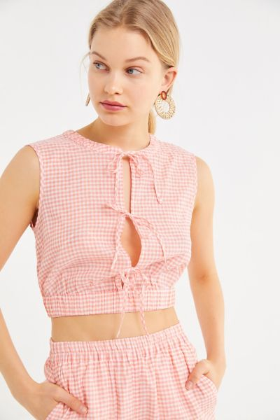 The East Order Luca Slit Tie-Front Cropped Top