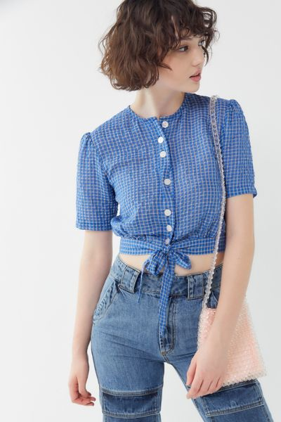 The East Order Mahlia Plaid Tie-Front Cropped Top
