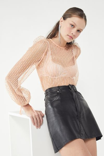 The East Order Pippi Sheer Puff-Sleeve Top
