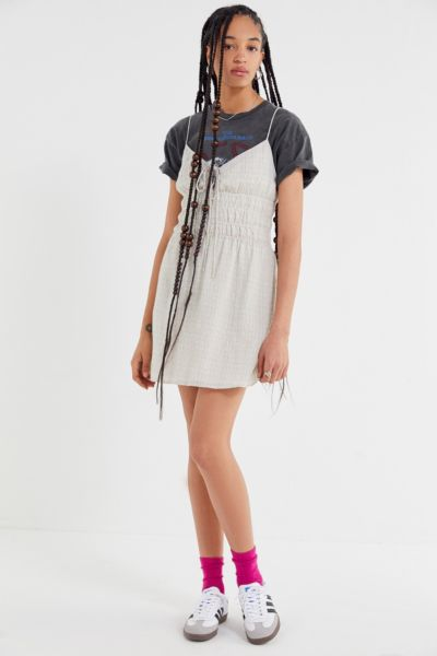 The East Order Wave Smocked Tie-Front Mini Dress