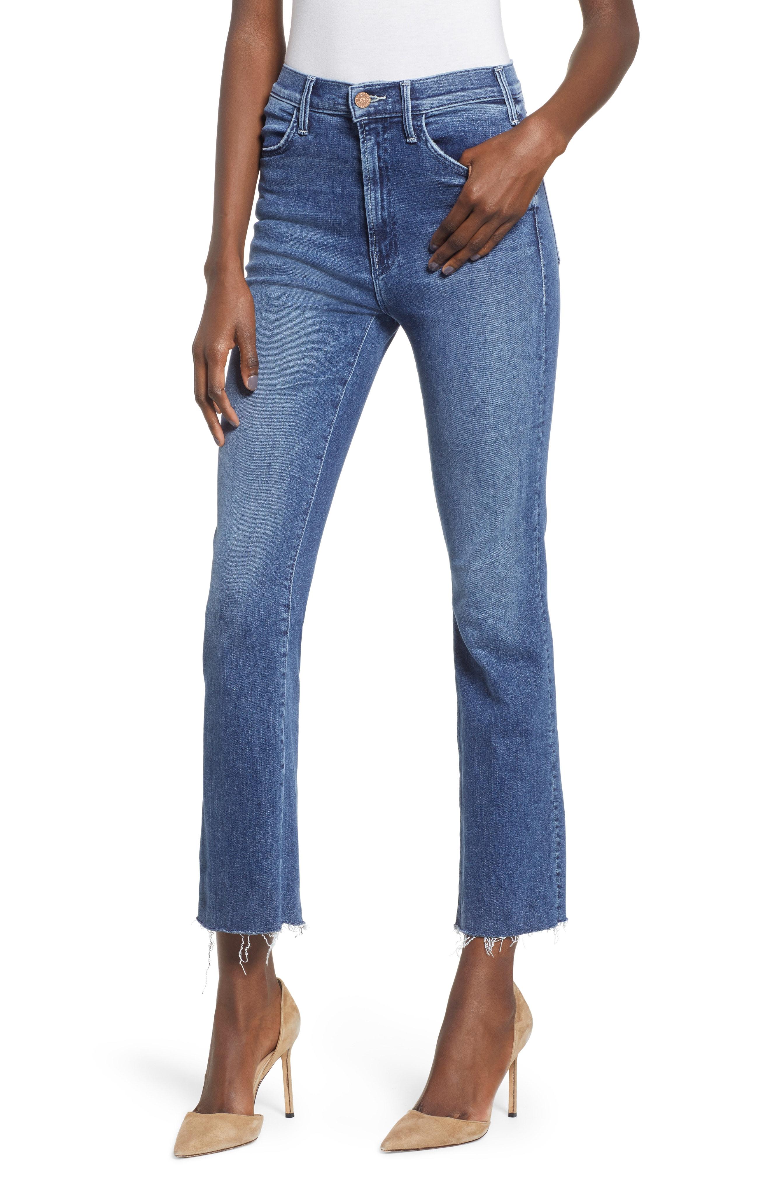MOTHER The Hustler Fray Ankle Bootcut Jeans (Bake Sale Brawl)