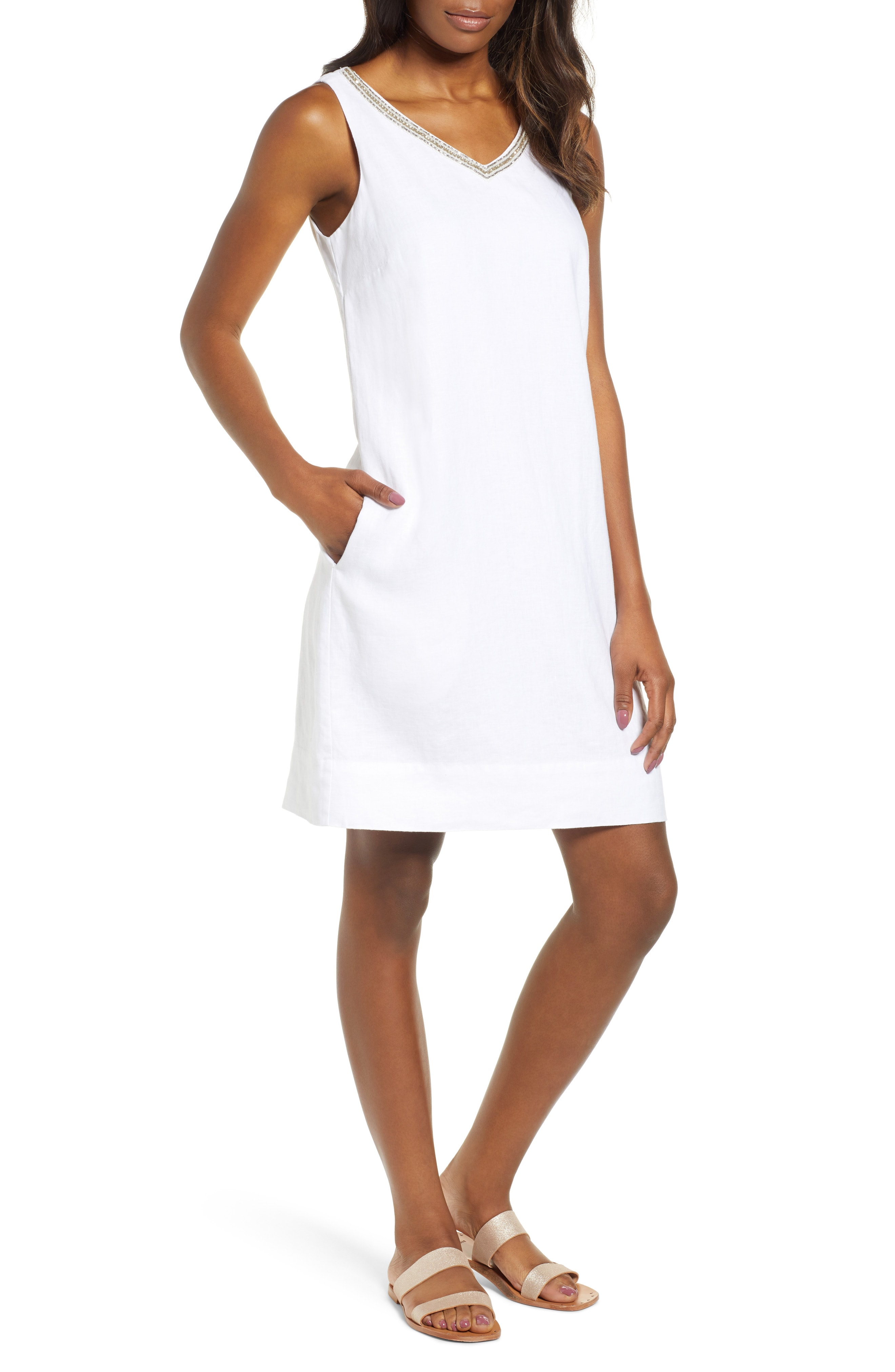 Tommy Bahama Linen Embellished Shift Dress