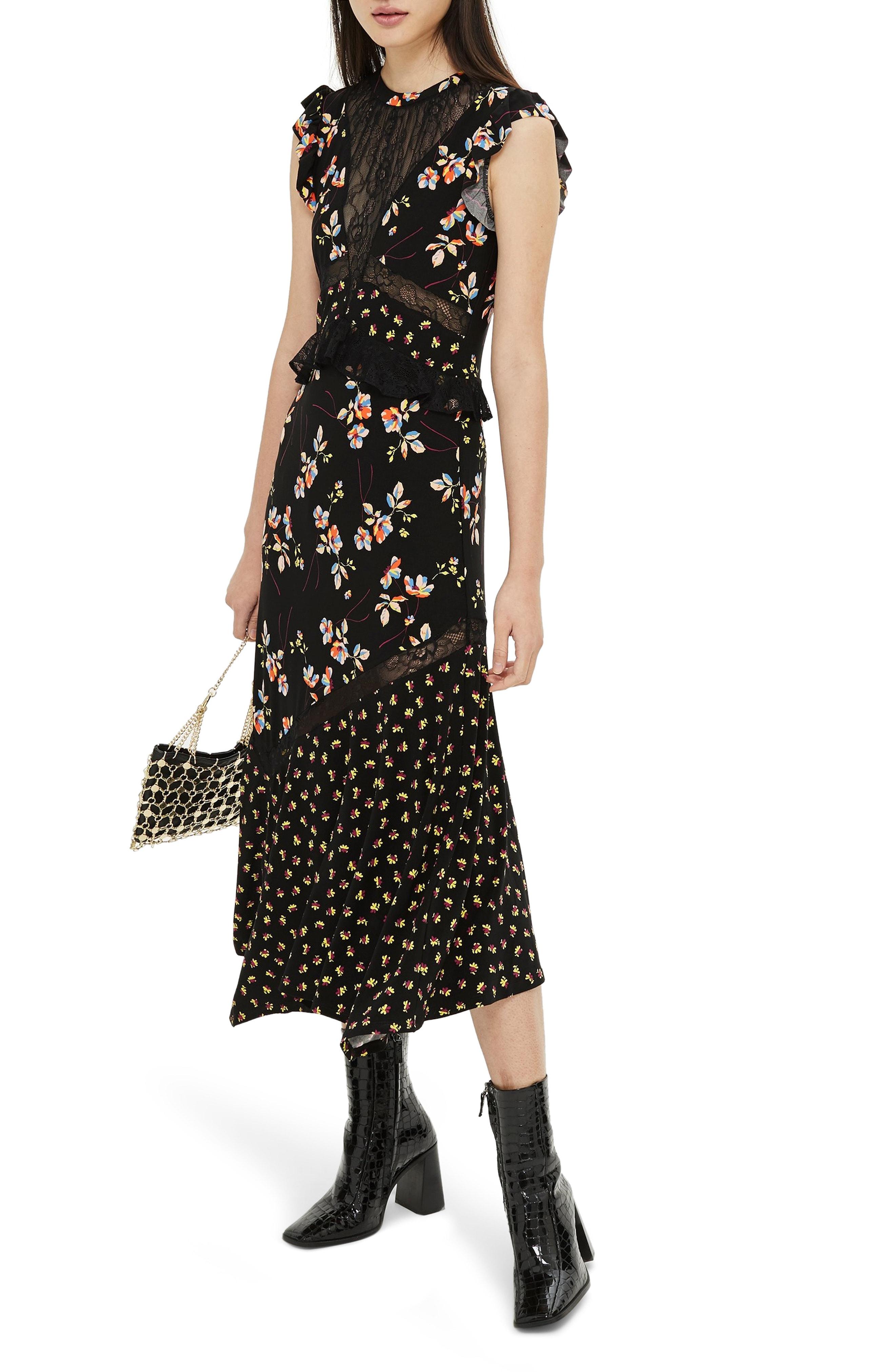 Topshop Lace Mix Spring Midi Dress