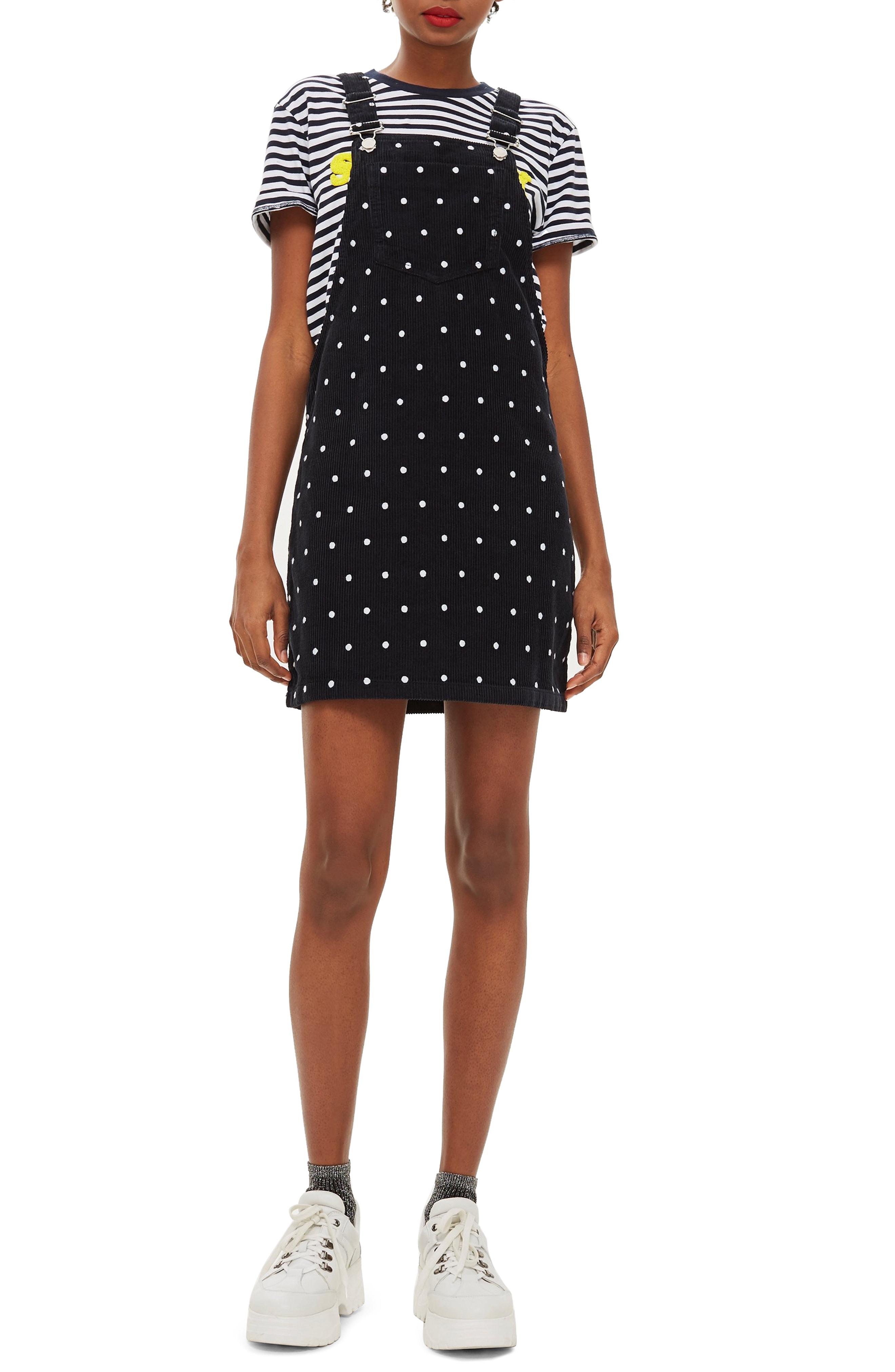 Topshop Polka Dot Corduroy Pinafore Dress