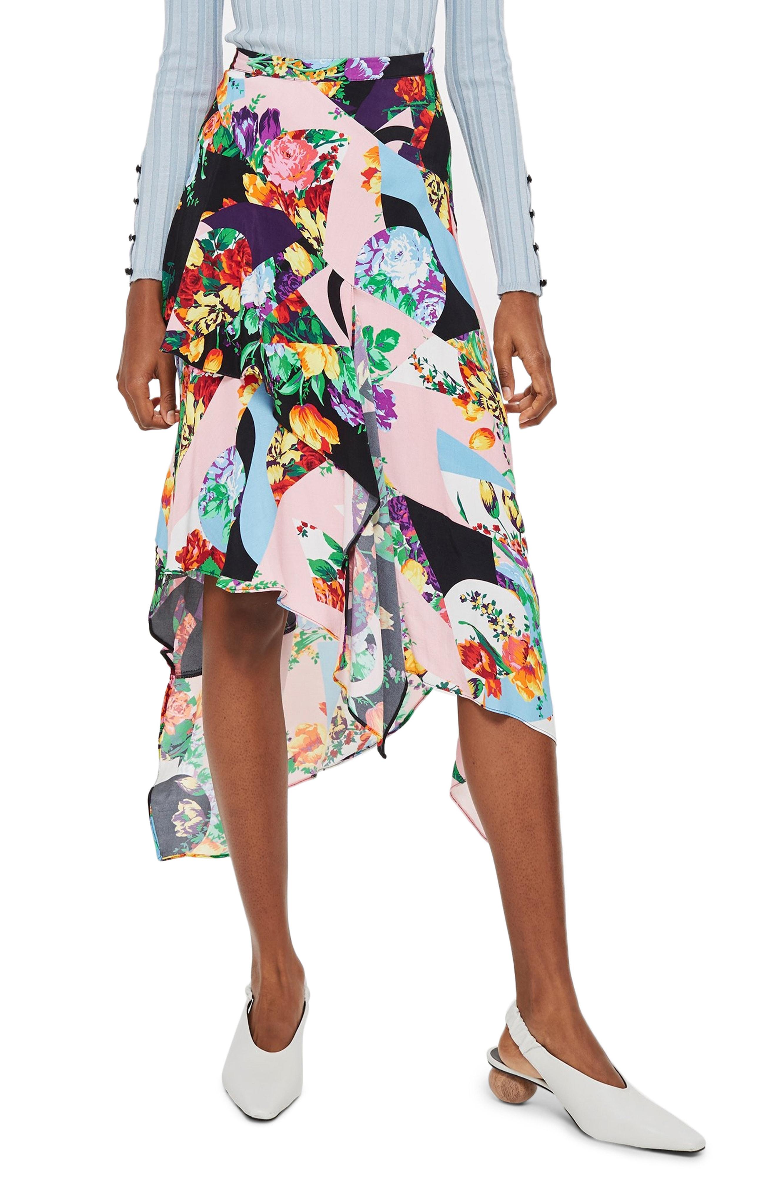 Topshop Spliced Floral Print Midi Skirt
