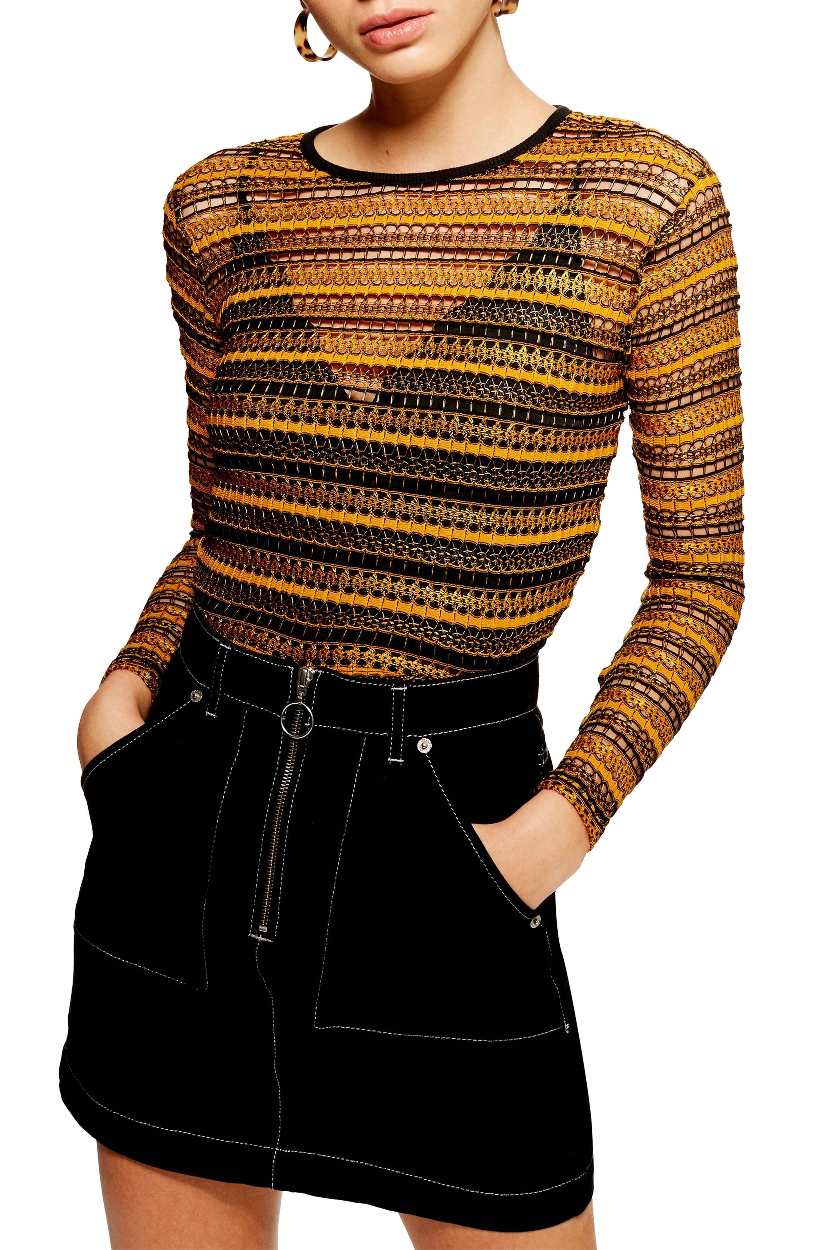Topshop Stripe Lace Crop Top