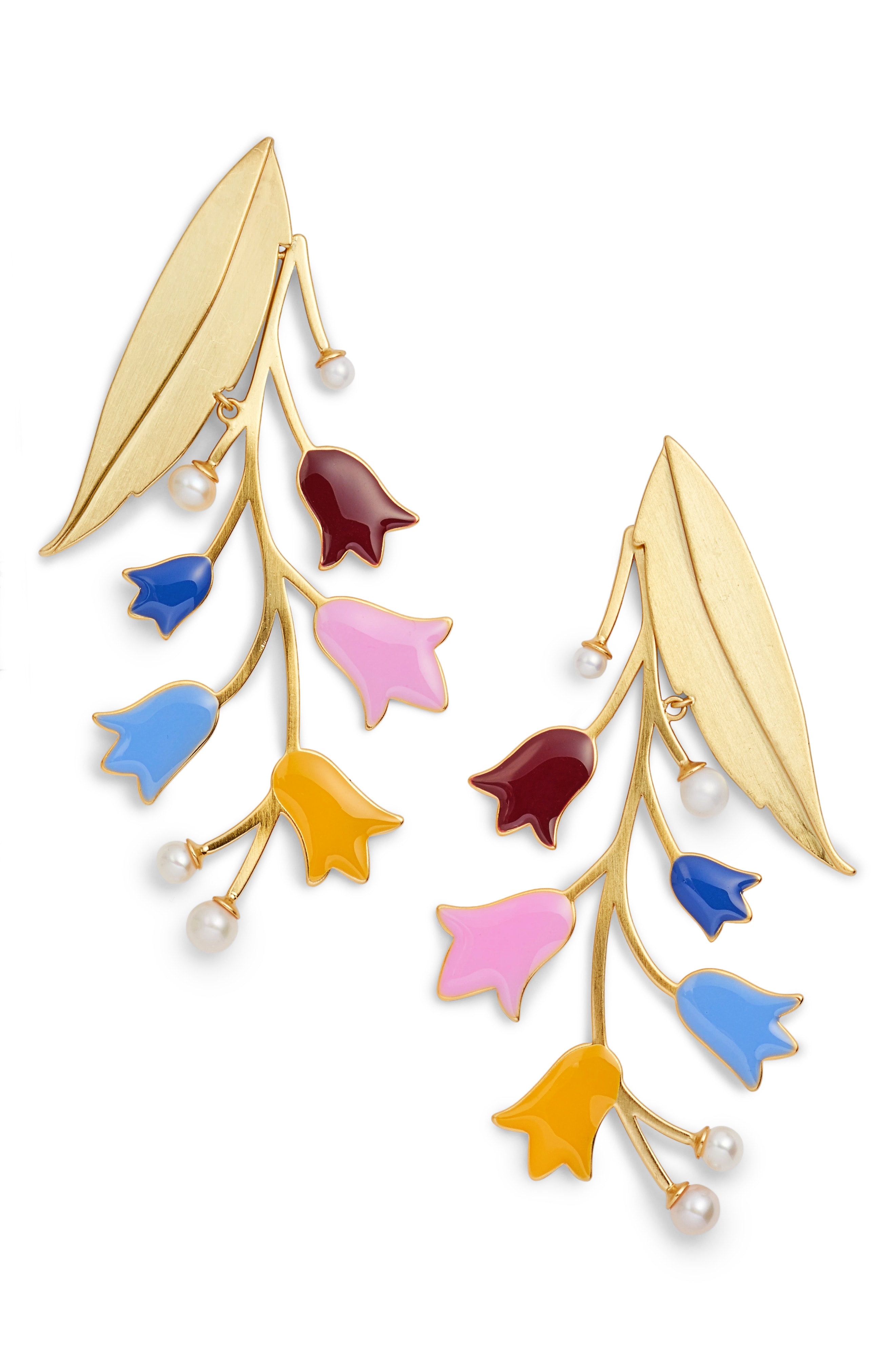 Tory Burch Bellflower Imitation Pearl Statement Earrings