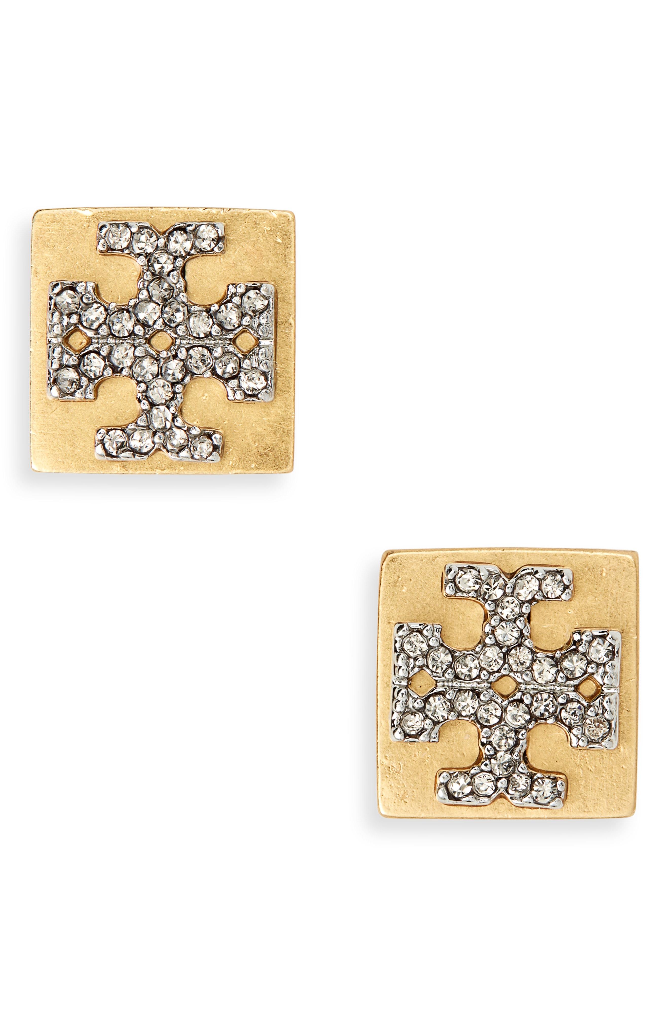 Tory Burch Block-T Crystal Logo Stud Earrings