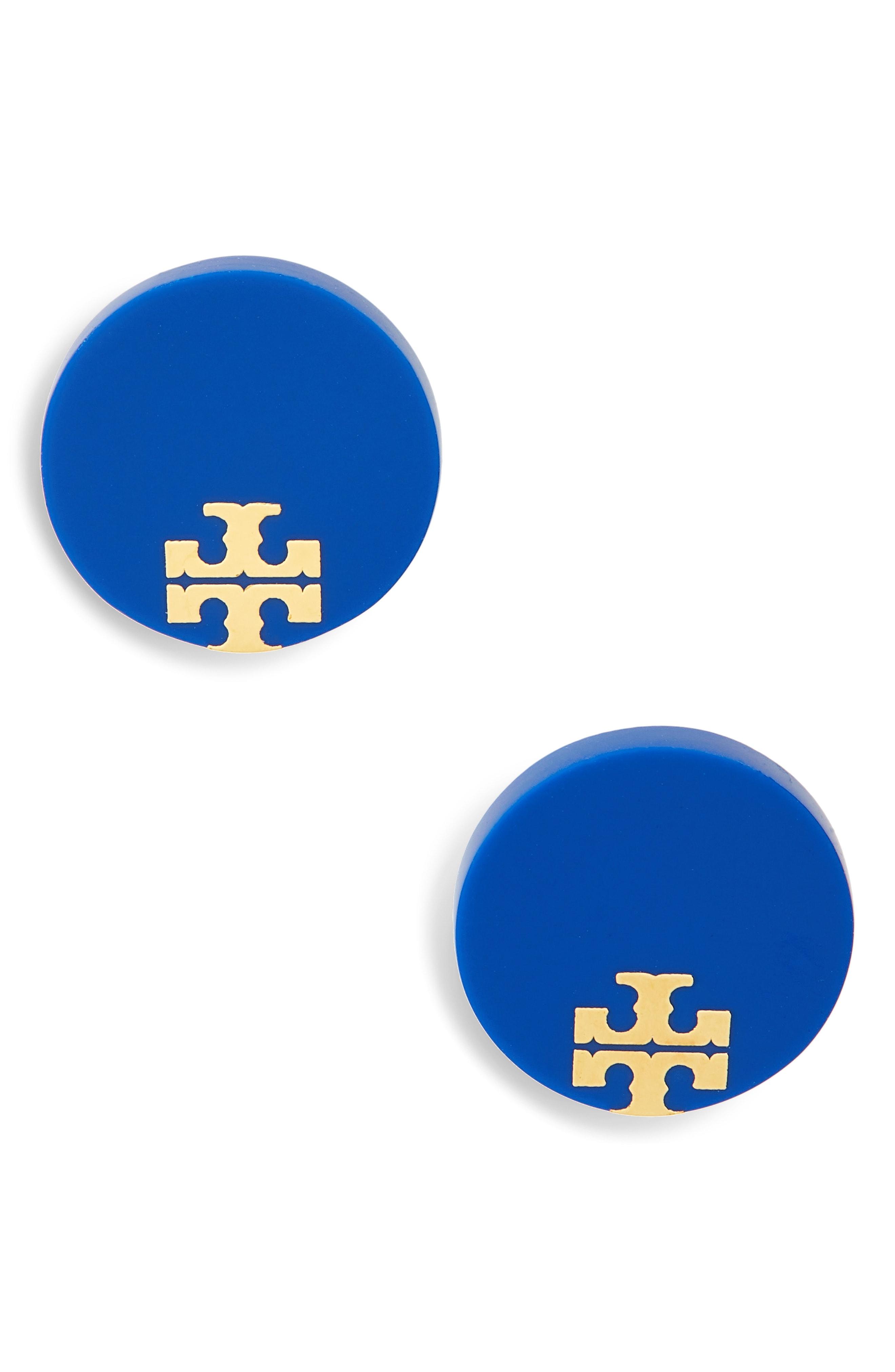 Tory Burch Enamel Logo Stud Earrings