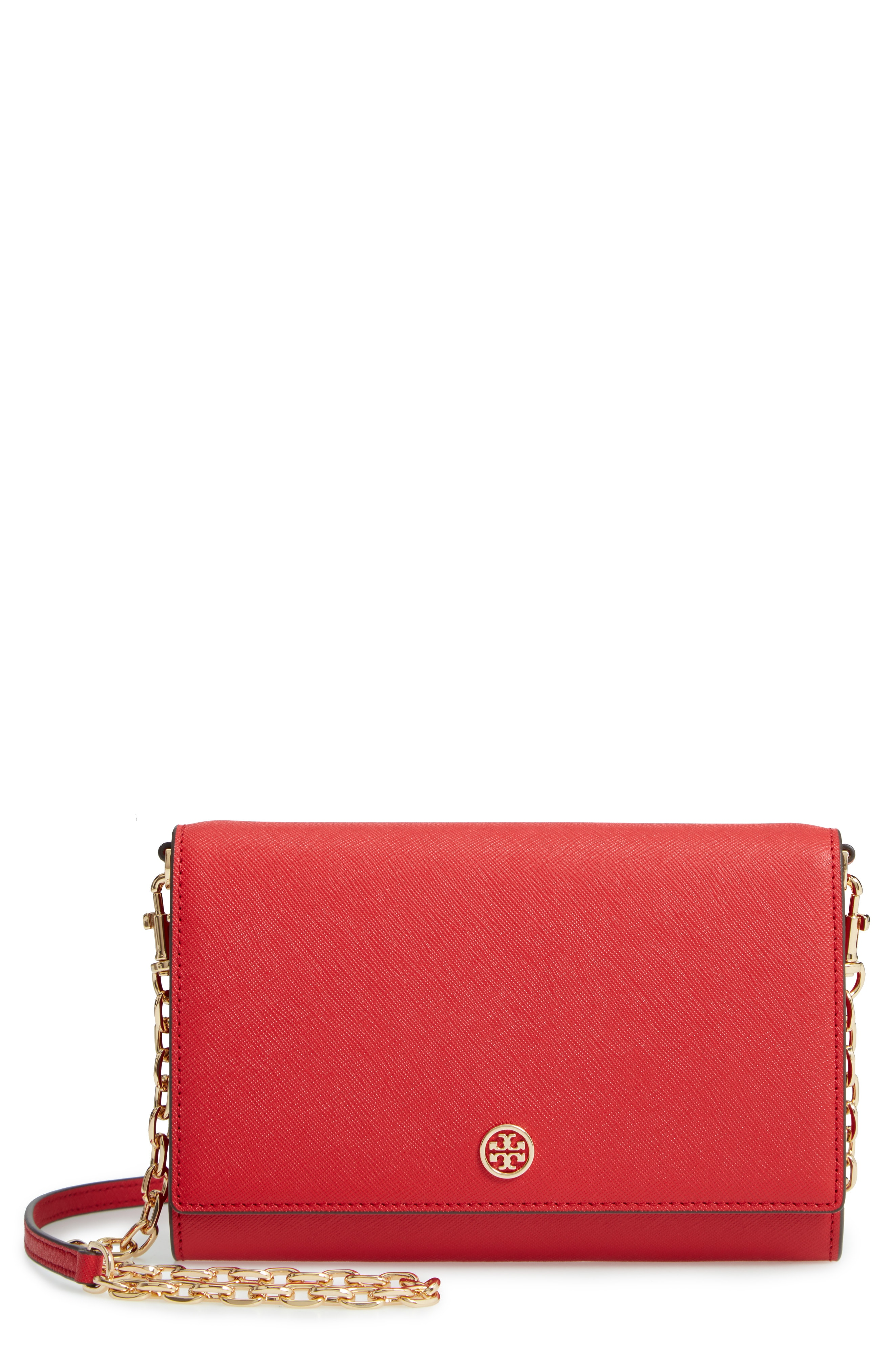 Tory Burch Robinson Leather Wallet on a Chain
