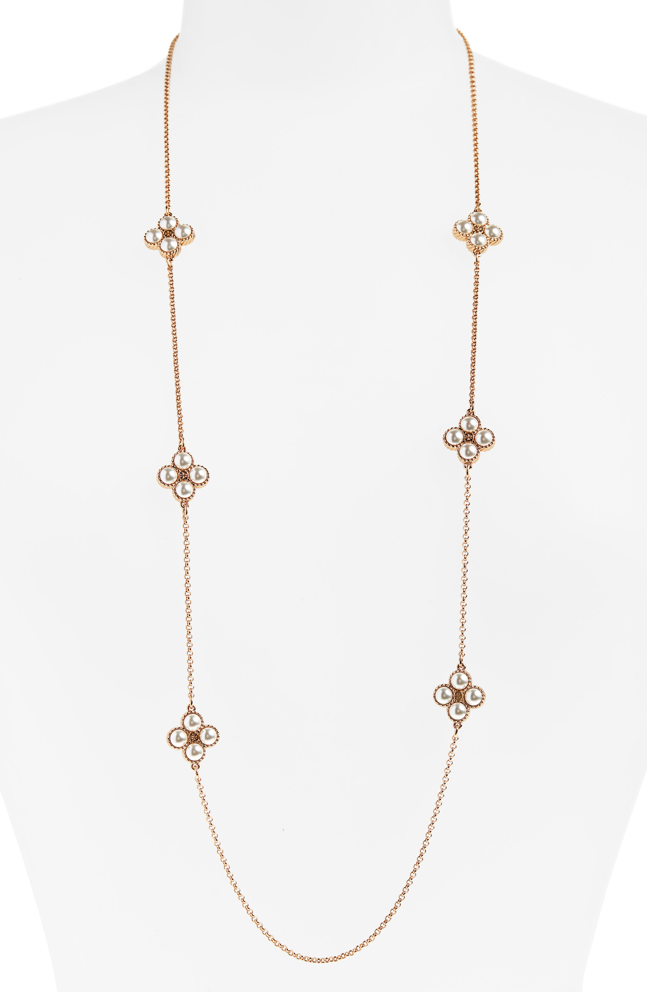 Tory Burch Rope Clover Station Necklace