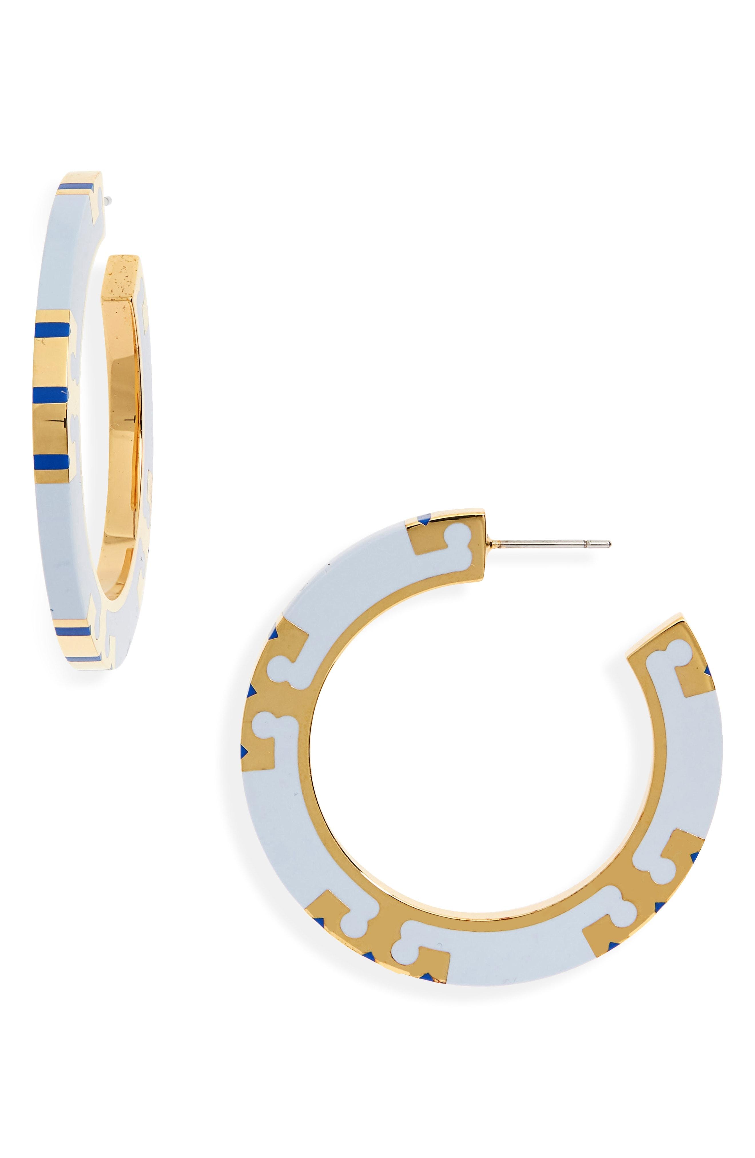Tory Burch T-Stripe Hoop Earrings