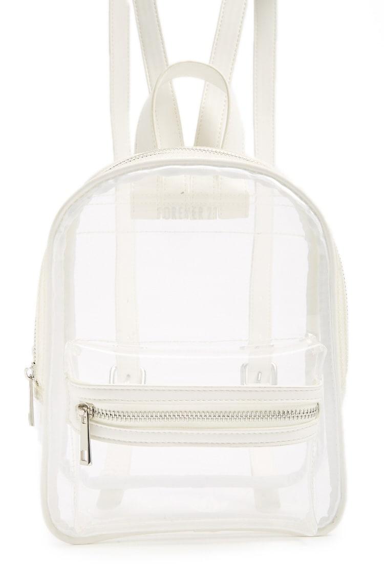 F21 Translucent Buckle-Strap Backpack