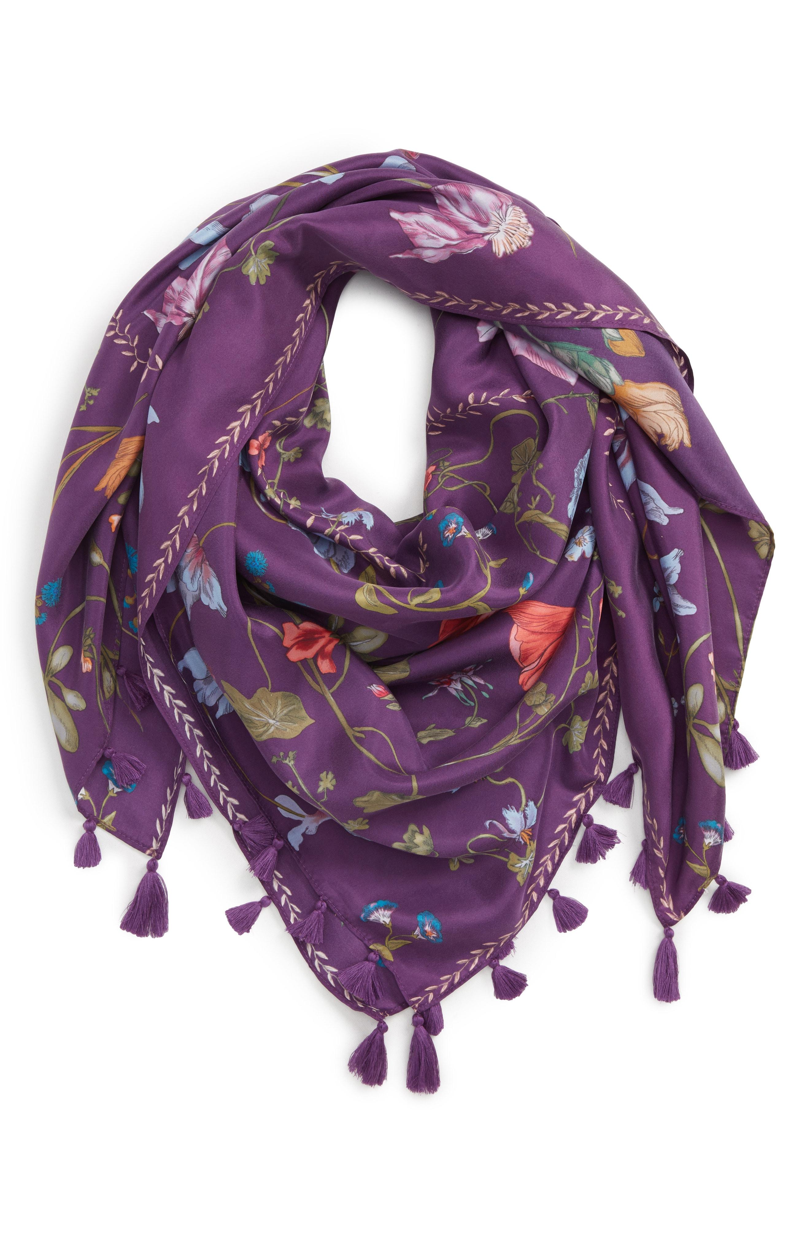 Treasure & Bond Floral Print Tassel Silk Scarf