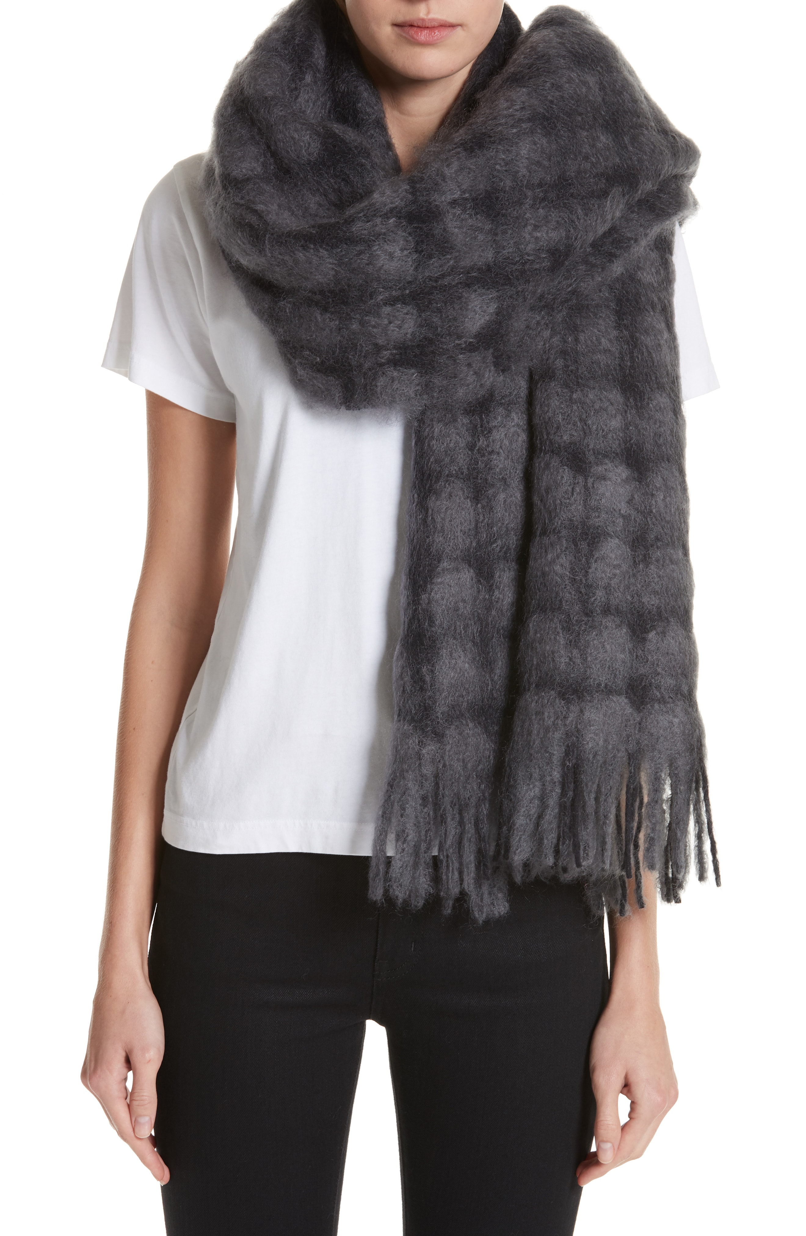 Tricot Comme des Garons Checked Wool & Mohair Scarf