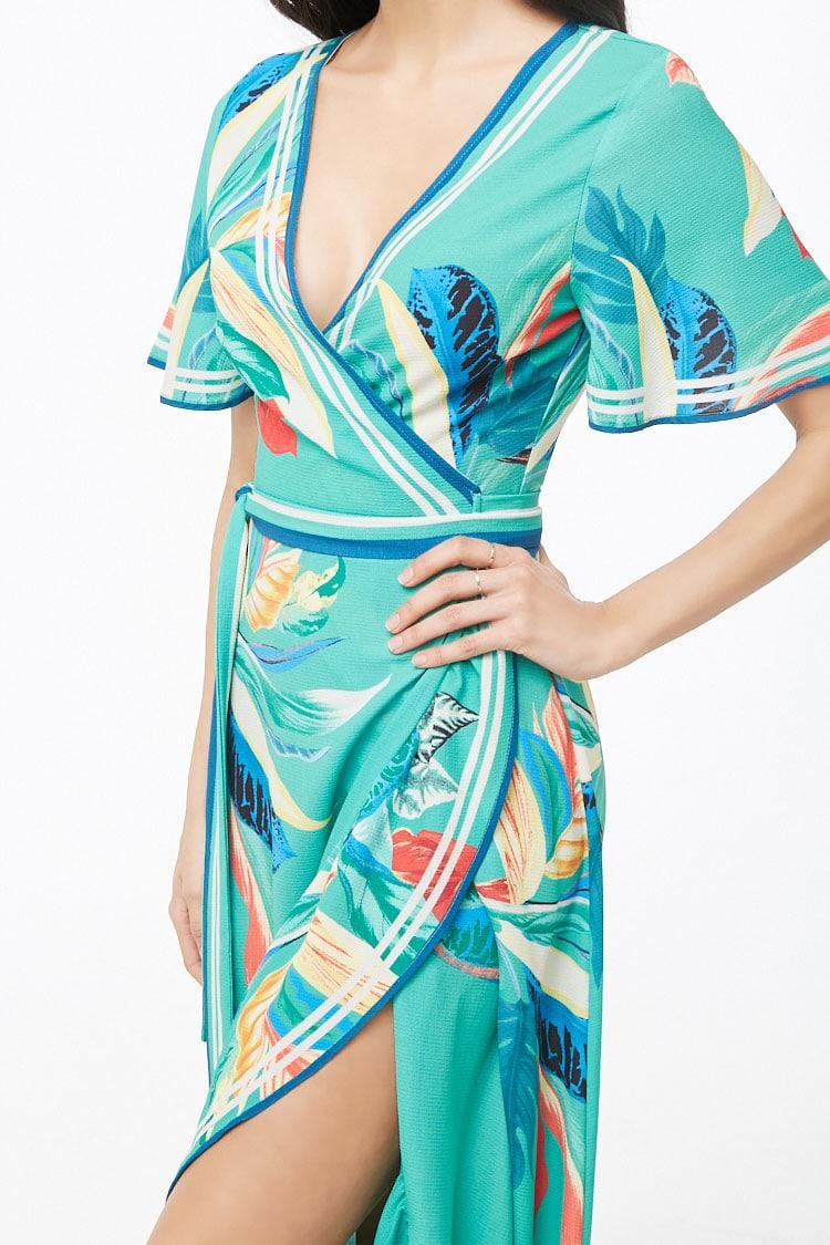 F21 Tropical Floral Crepe Wrap Dress