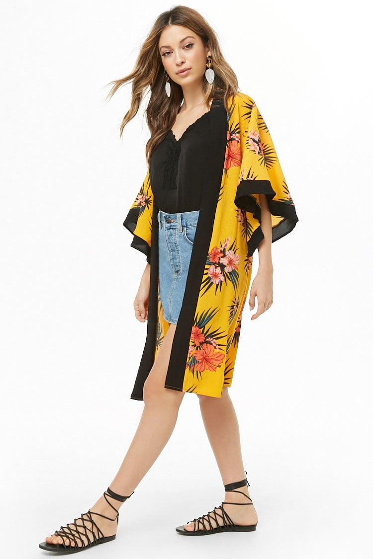 F21 Tropical Floral Print Kimono