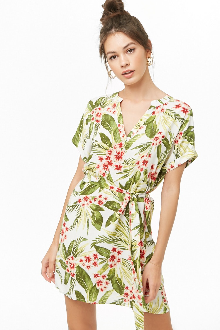 F21 Tropical Floral Print Mini Dress