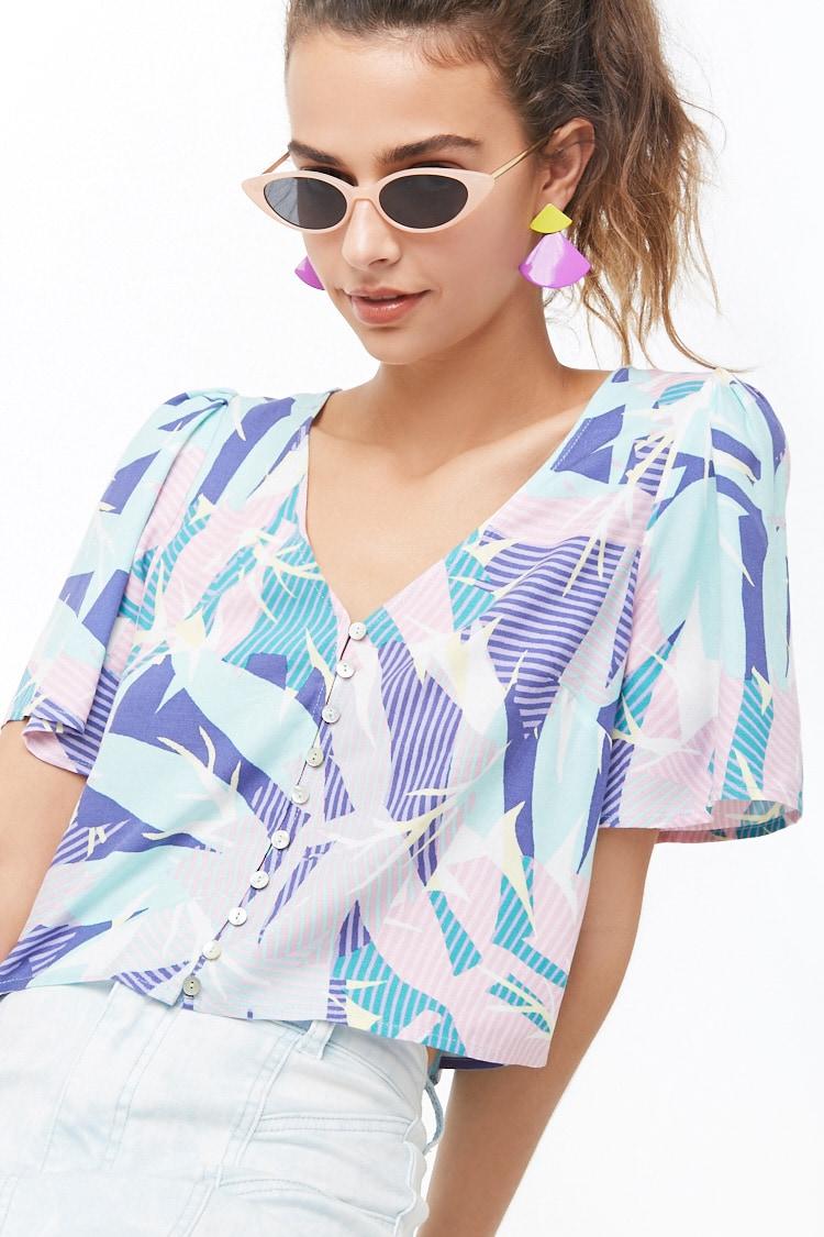 F21 Tropical Floral Print Top