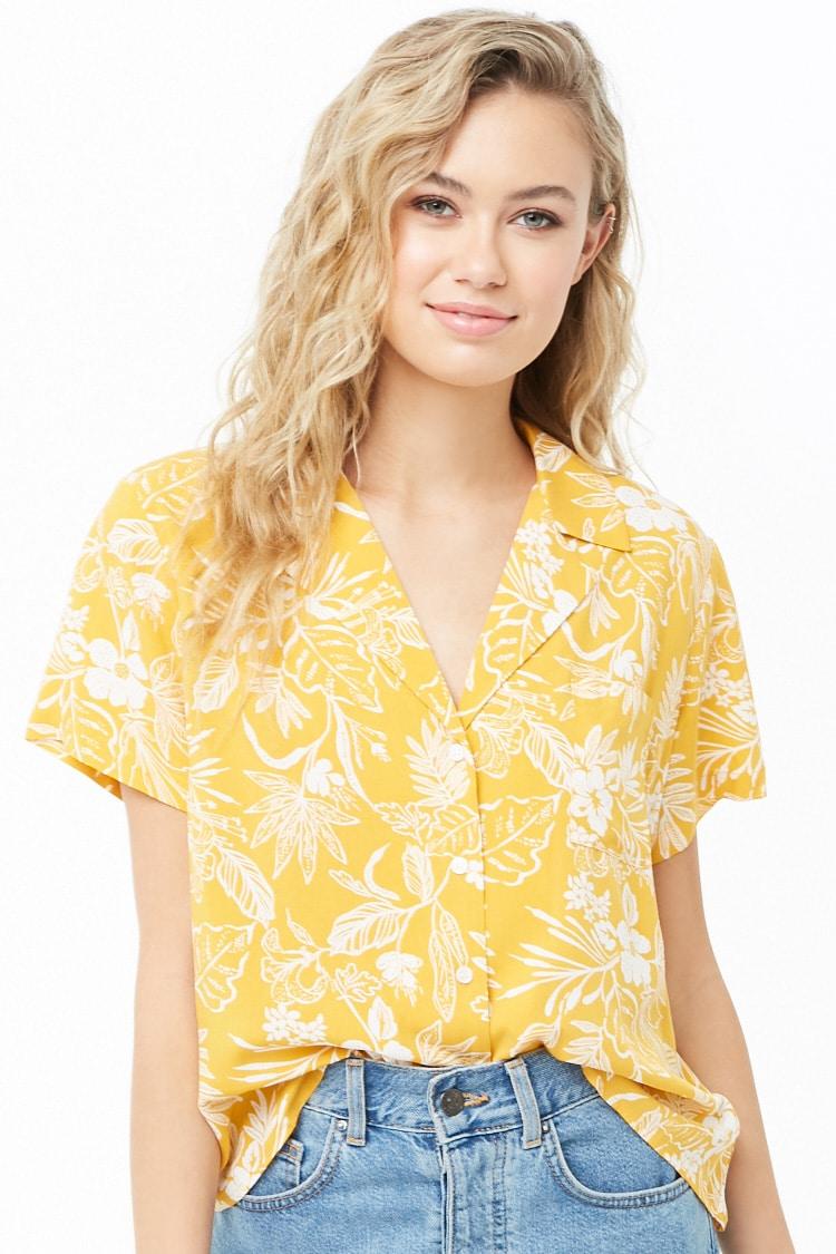 F21 Tropical Print Shirt