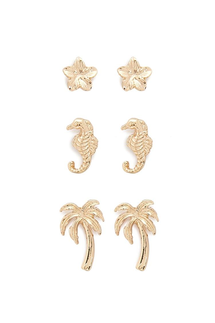 F21 Tropical Stud Earrings Set