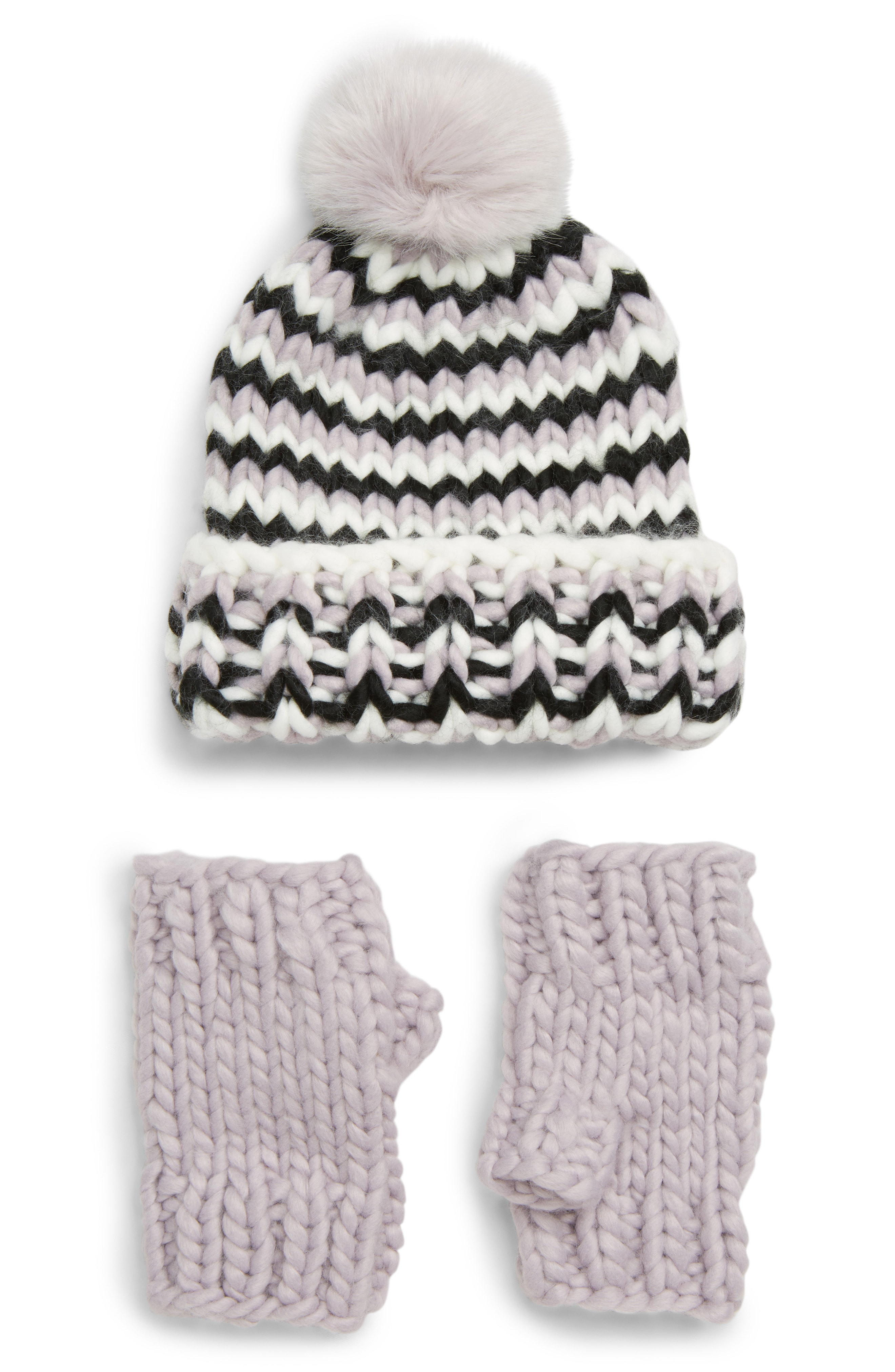 Trouv Chunky Stitch Beanie with Faux Fur Pom & Fingerless Gloves Gift Set