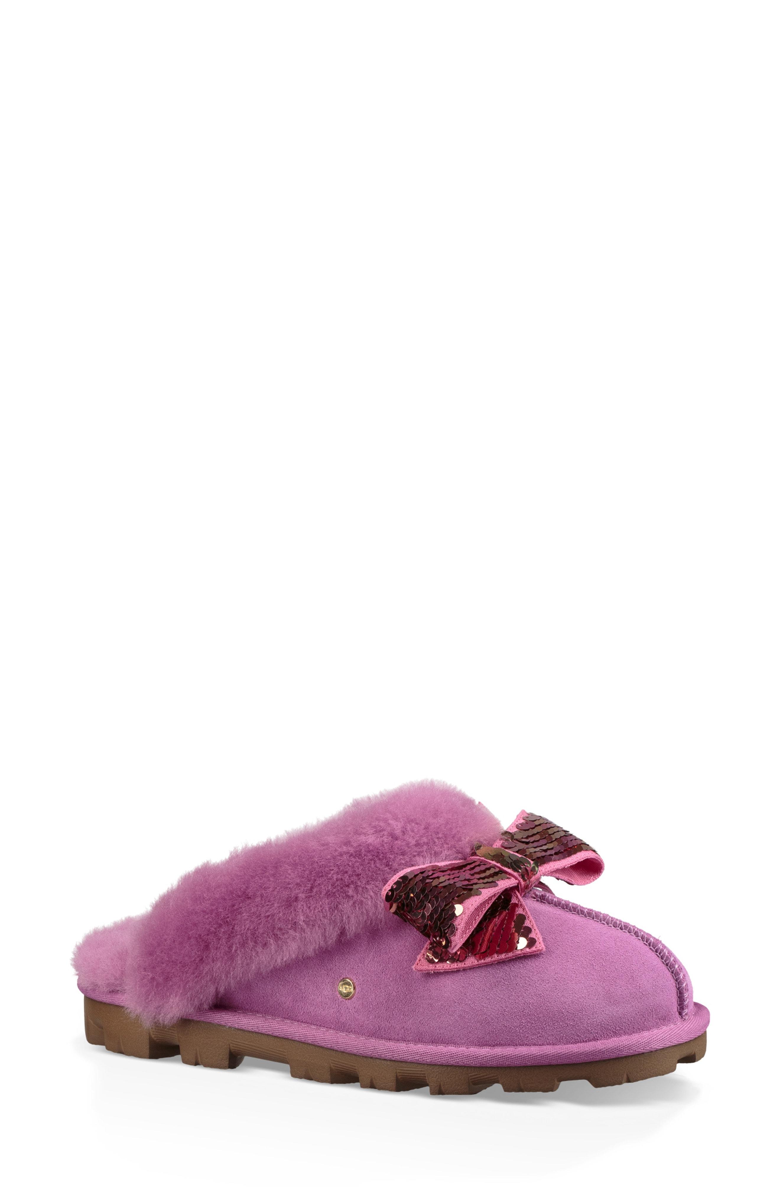 UGG Genuine Shearling & Sequin Bow Slipper (Women)