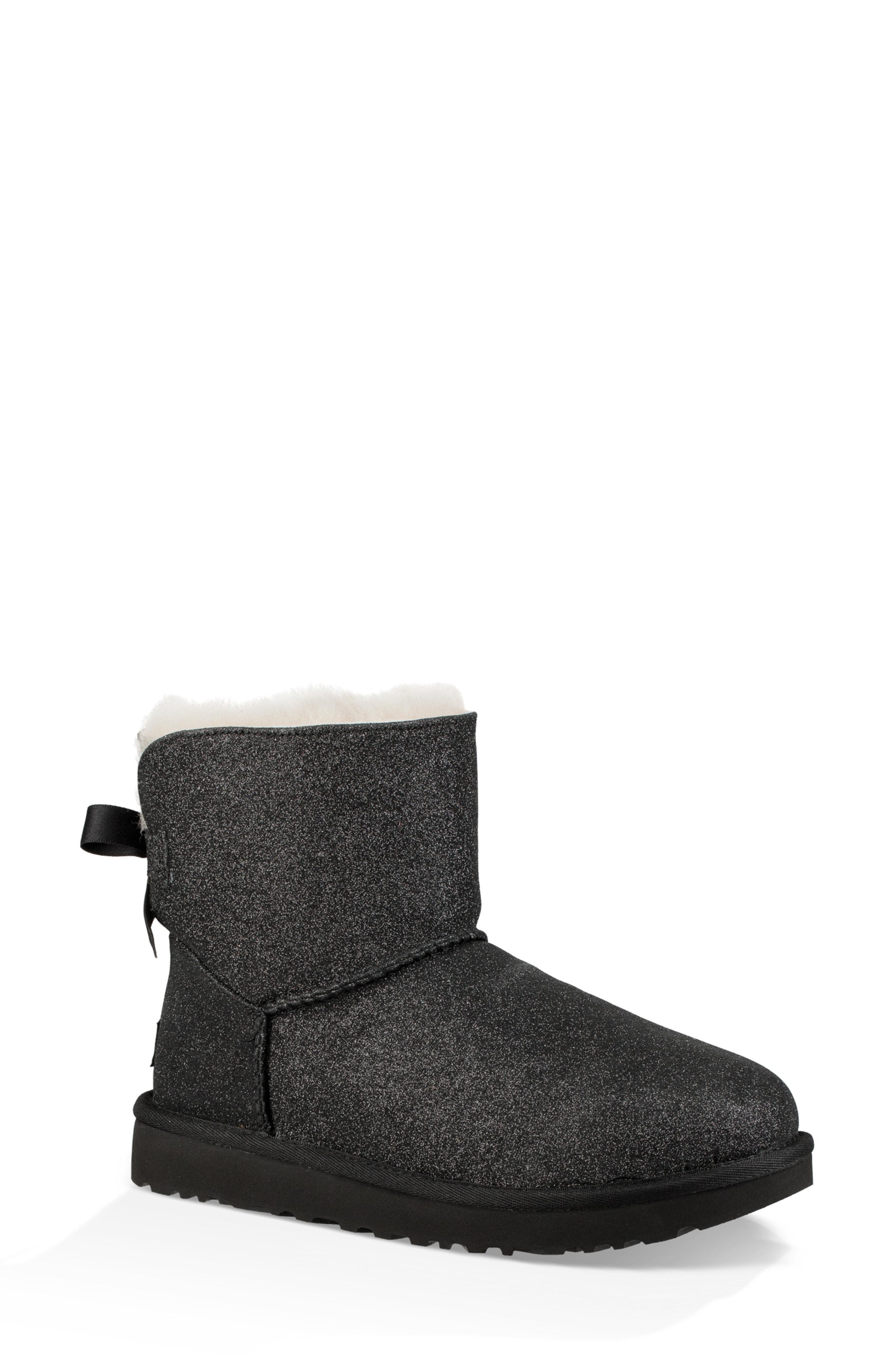 UGG Mini Bailey Bow Sparkle Genuine Shearling Boot (Women)