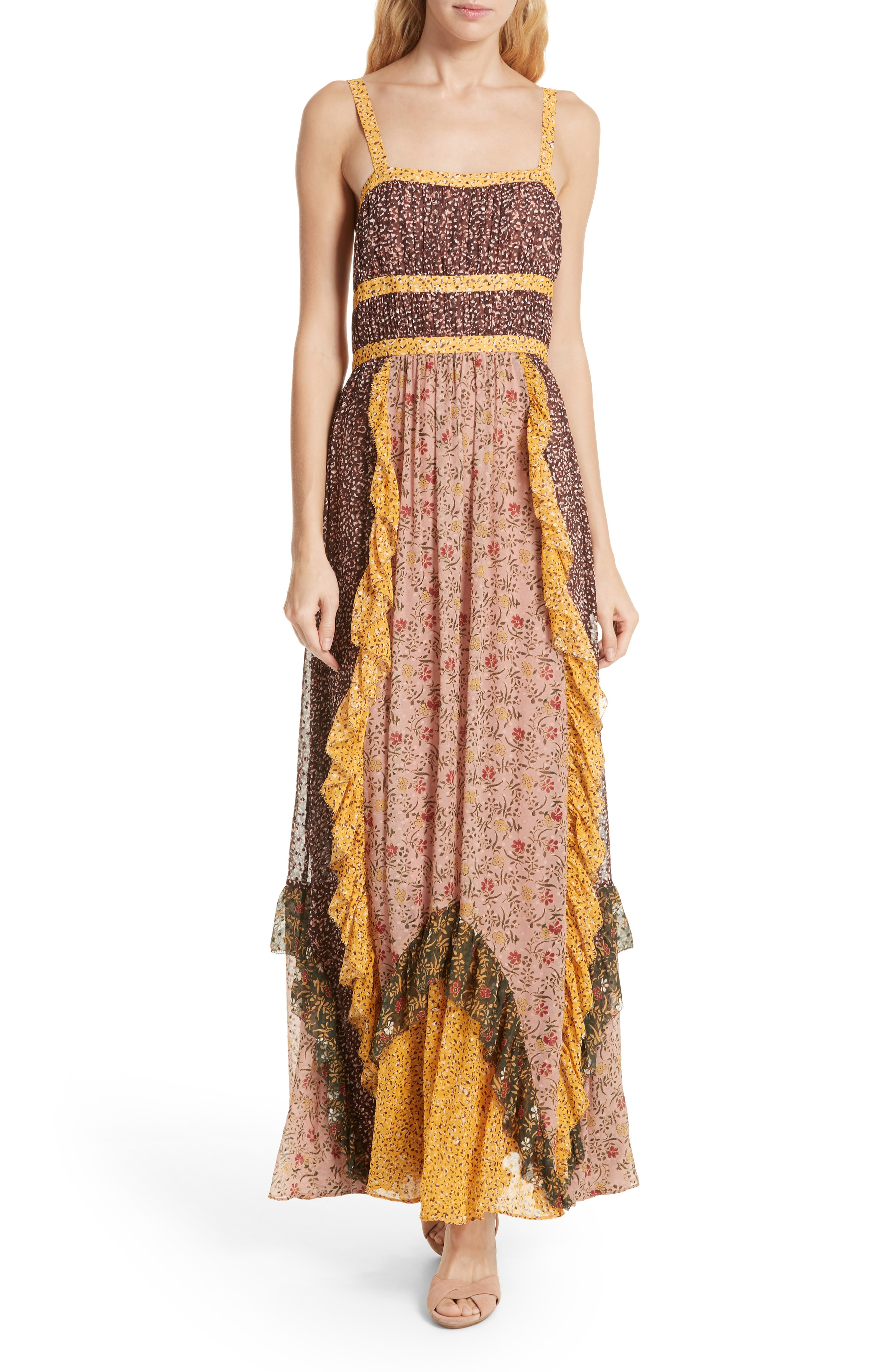 Ulla Johnson Brie Floral Print Silk Blend Maxi Dress