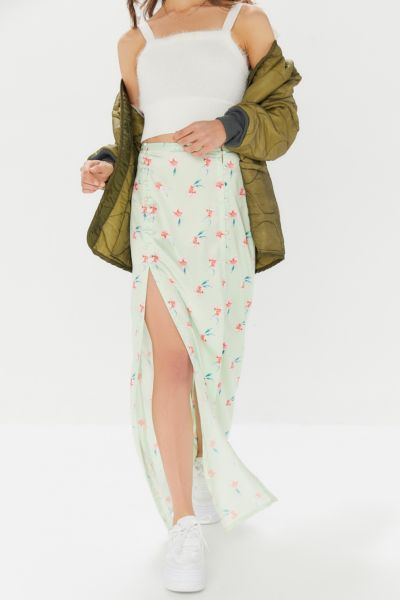 UO Alexia Floral Front-Slit Maxi Skirt