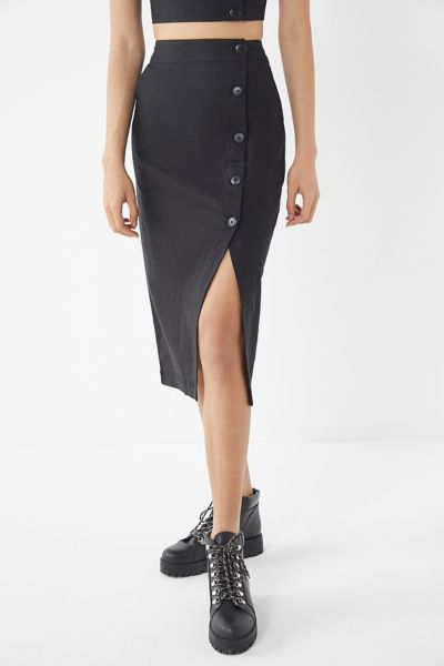 UO Amanda Button-Down Midi Skirt