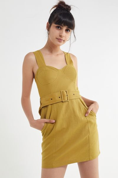 UO Angelique Belted Stretch Linen Dress