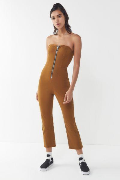 UO Antoinette Zip-Front Strapless Jumpsuit