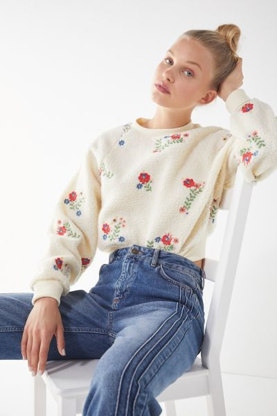 UO Aster Floral Sherpa Cropped Sweatshirt