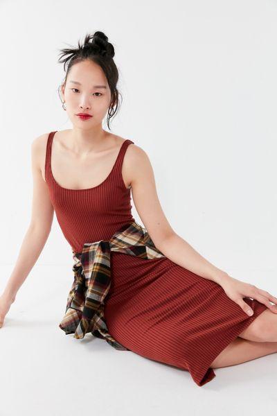 UO Bella Ribbed Knit Bodycon Midi Dress