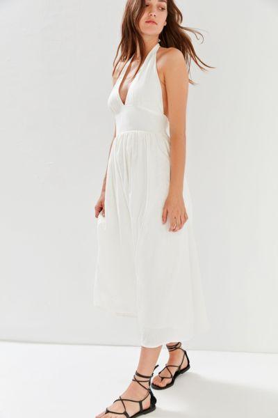 UO Betsey Linen Halter Midi Dress