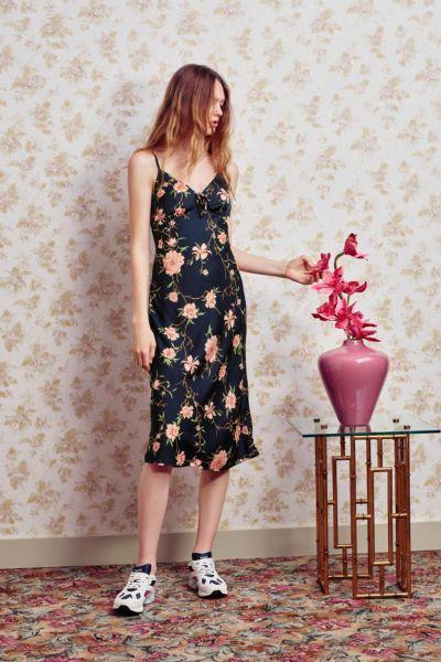 UO Betsy Satin Tie-Front Midi Dress