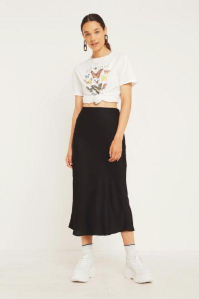 UO Black Satin Bias-Cut Midi Skirt