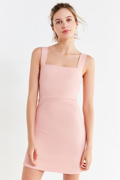 UO Britt Textured Square-Neck Mini Dress