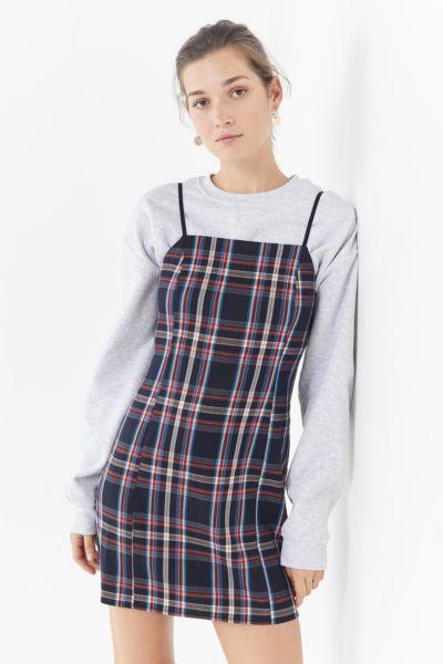UO Checkered Mini Slip Dress