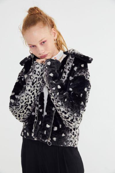 UO Colette Animal Print Faux Fur Jacket